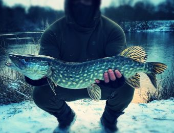 What's being caught here: Stuart Lammas, with a lovely snow pike!
