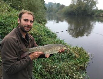 What's being caught here - 1 of 3 barbel caught at the Danery Monday 25th September 2017. The catch included one of 5lb (photo) and a 2lb and 8lb fish, also lost 2.   Jon Haycox.