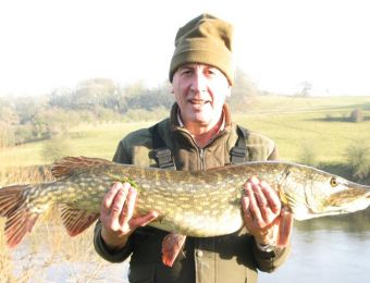 What's being caught here - Dec 2016 -  19lb 4oz pike at Coomby's Farm down from Borle Brook. She took a ledgered whole mackerel. Nick Lowe.